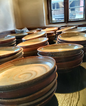 hand thrown plates for the restaurant Sosein